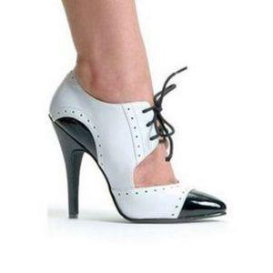 Ellie gangster black and white 5 inch heels.